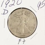 1920-D WALKING LIBERTY HALF DOLLAR - F+