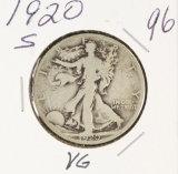 1920-S WALKING LIBERTY HALF DOLLAR - VG
