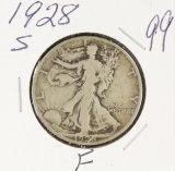 1928-S WALKING LIBERTY HALF DOLLAR - F