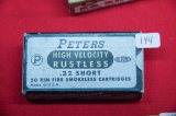 1 Box of 50, Peters High Velocity Rustless 22 Short