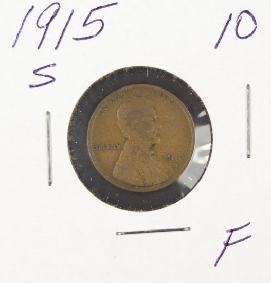 1915-S LINCOLN CENT - F