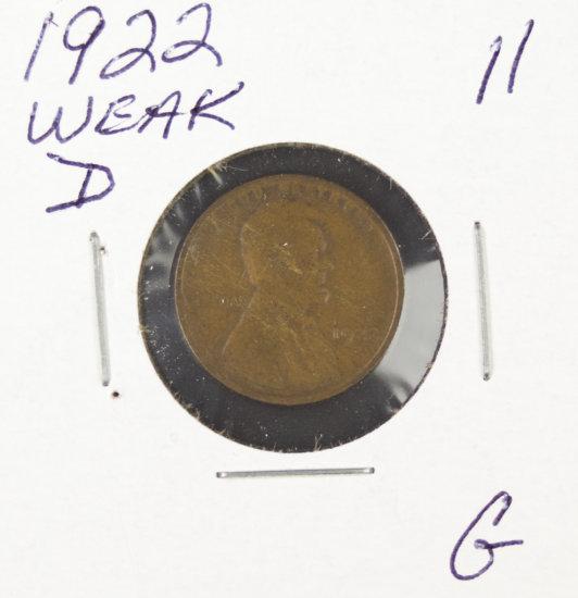 1922 WEAK -D LINCOLN CENT -G