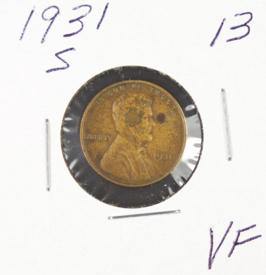 1931-S LINCOLN CENT - VF
