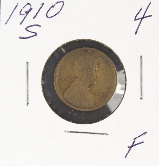 1910-S  LINCOLN CENT - F
