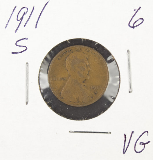 1911-S  LINCOLN CENT -VG