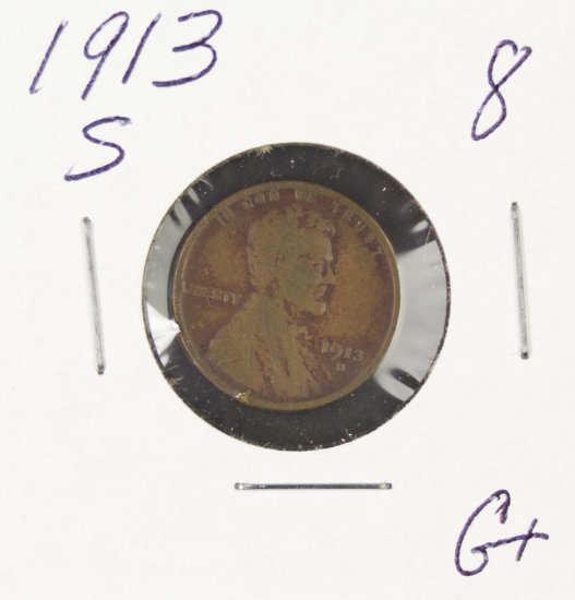 1913-S LINCOLN CENT - G+