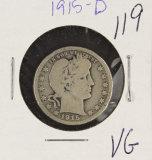 1915-D BARBER QUARTER - VG