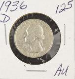 1936-D WASHINGTON QUARTER - AU