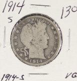 1914-S BARBER HALF DOLLAR - VG