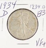 1934-D WALKING LIBERTY HALF DOLLAR - VF+