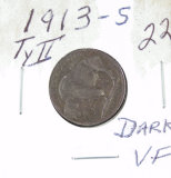 1913-S TYPE II BUFFALO NICKEL DARK -VF