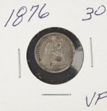 1876 - SEATED LIBERTY DIME - VF