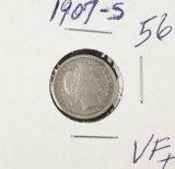 1907-S BARBER DIME - VF+
