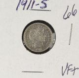 1911-S BARBER DIME - VF+