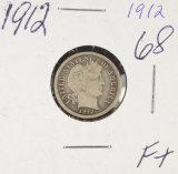 1912 - BARBER DIME - F+