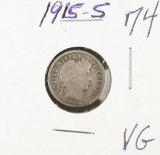 1915- S BARBER DIME - VG