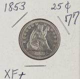 1853 - SEATED LIBERTY QUARTER - XF+