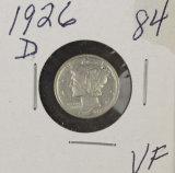 1926-D MERCURY DIME - VF