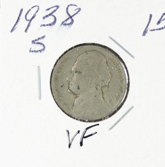 1938-S JEFFERSON NICKEL - VF