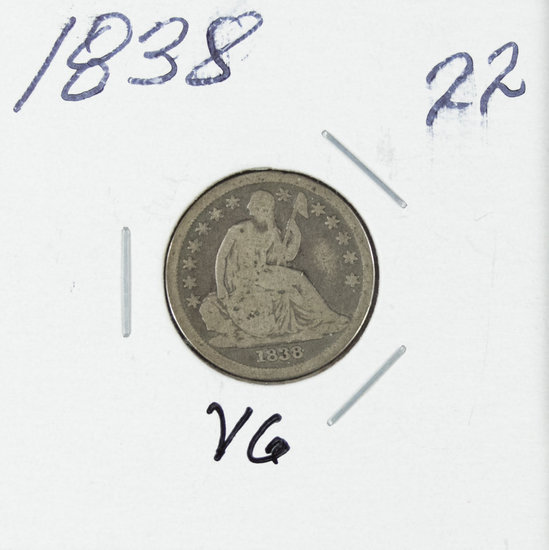 1838 - LIBERTY SEATED DIME - VG