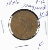 1836  - YOUNG HEAD LARGE CENT - F