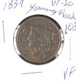1837 - YOUNG HEAD LARGE CENT - VF