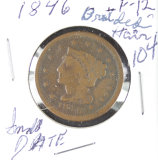 1846 - SMALL DATE - BRAIDED HAIR LARGE CENT - F