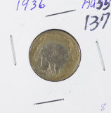 1936 - BUFFALO NICKEL - AU+