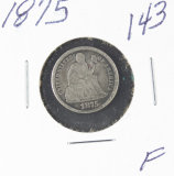 1875 - LIBERTY SEATED DIME - F
