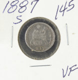 1887-S LIBERTY SEATED DIME - VF