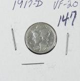 1917-D MERCURY DIME - VG