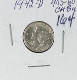 1942-D MERCURY DIME -UNC