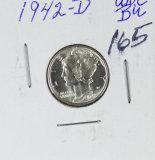 1942-D MERCURY DIME - BU