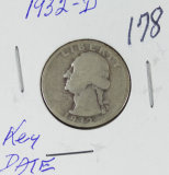 1932-D WASHINGTON QUARTER  - VG - KEY DATE