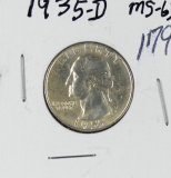 1935-D WASHINGTON QUARTER  - UNC