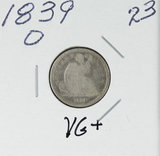 1839-O LIBERTY SEATED DIME - VG+
