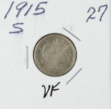 1915-S BARBER DIME - VF