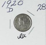 1920-D MERCURY DIME - AU