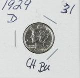1929-D MERCURY DIME - BU
