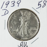 1939-D WALKING LIBERTY HALF DOLLAR - AU