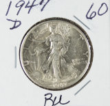 1947-D WALKING LIBERTY HALF DOLLAR - BU