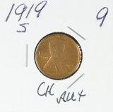 1919-S LINCOLN CENT - AU