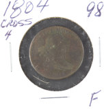 1804 CROSSLET 4 STEMS - DRAPED BUST HALF CENT - F