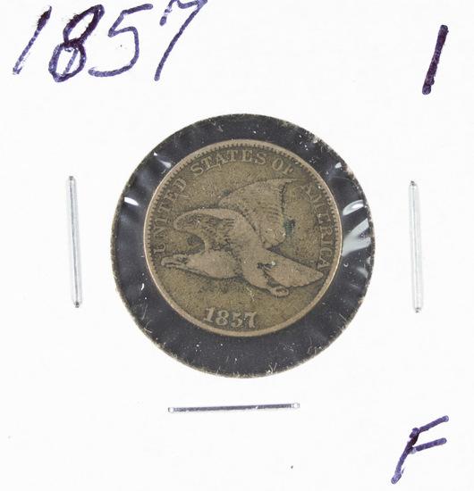 1857 - FLYING EAGLE CENT - F