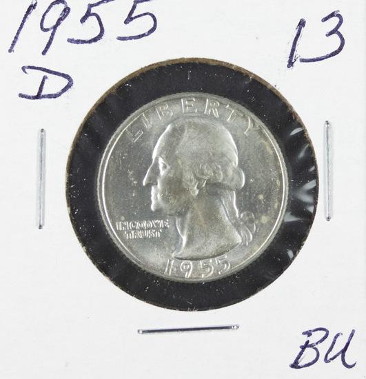 1955-D WASHINGTON QUARTER - BU