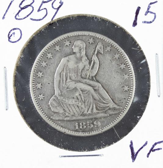 1859 - O SEATED LIBERTY HALF DOLLAR - VF