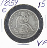 1859 - O SEATED LIBERTY HALF DOLLAR - VF