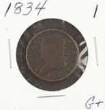 1834 - CLASSIC HEAD HALF CENT - G+