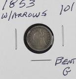 1853 - W/ARROWS SEATED LIBERTY HALF DIME - G