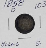 1858 - SEATED LIBERTY HALF DIME - G